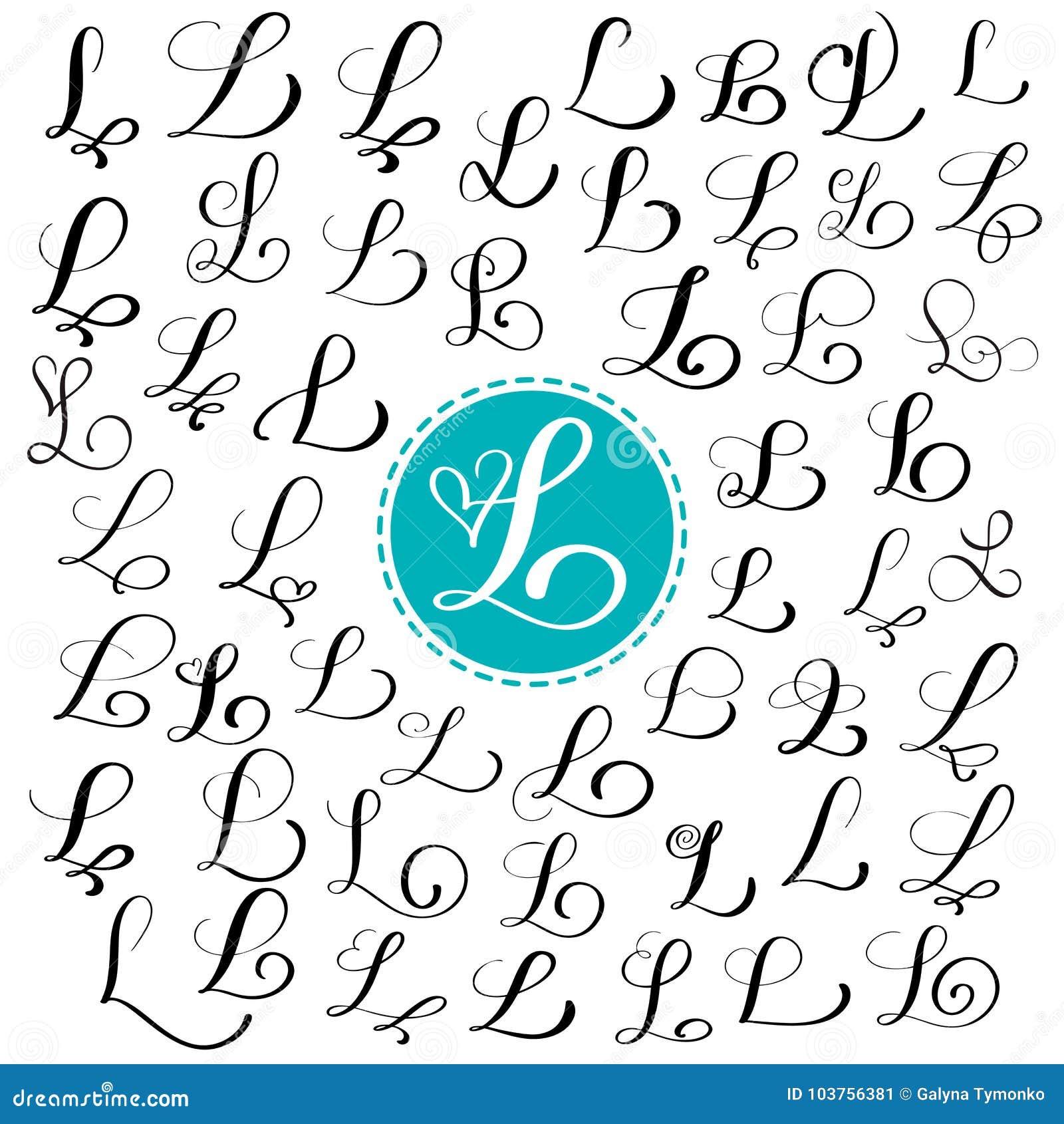 Satz Hand Gezeichneten Vektorkalligraphiebuchstaben L Skriptguß