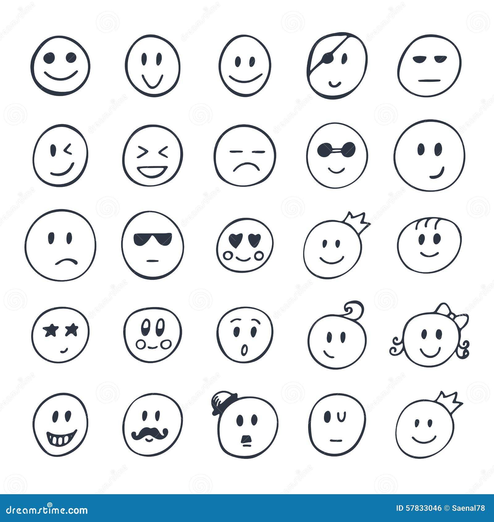 Line Drawing Of Happy Face : Satz hand gezeichneter smiley lustige gesichter mit