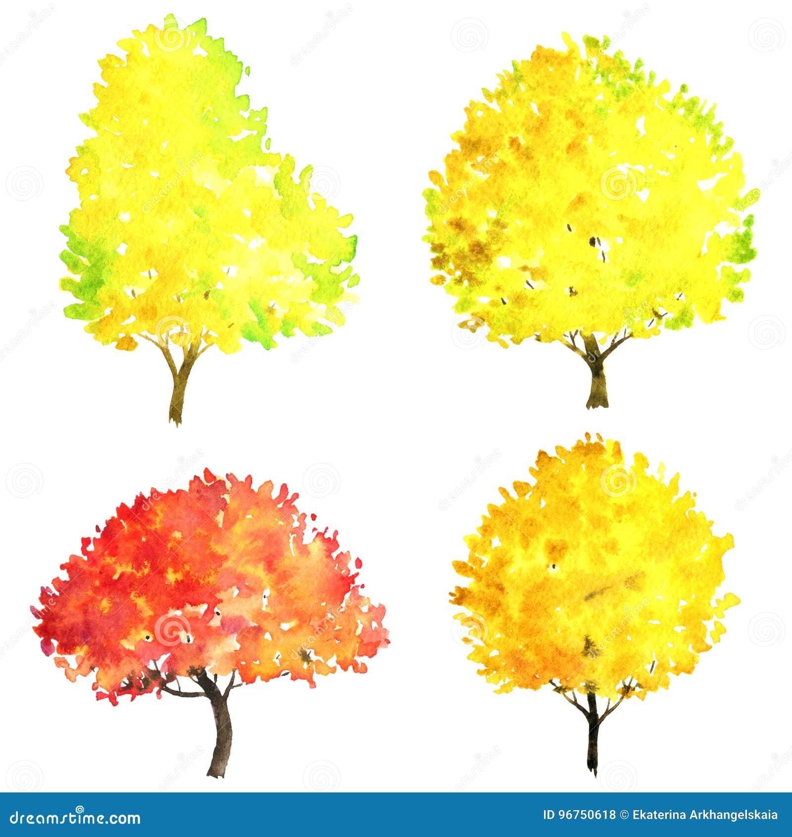 Satz Herbstbaume Die Durch Aquarell Zeichnen Stock Abbildung