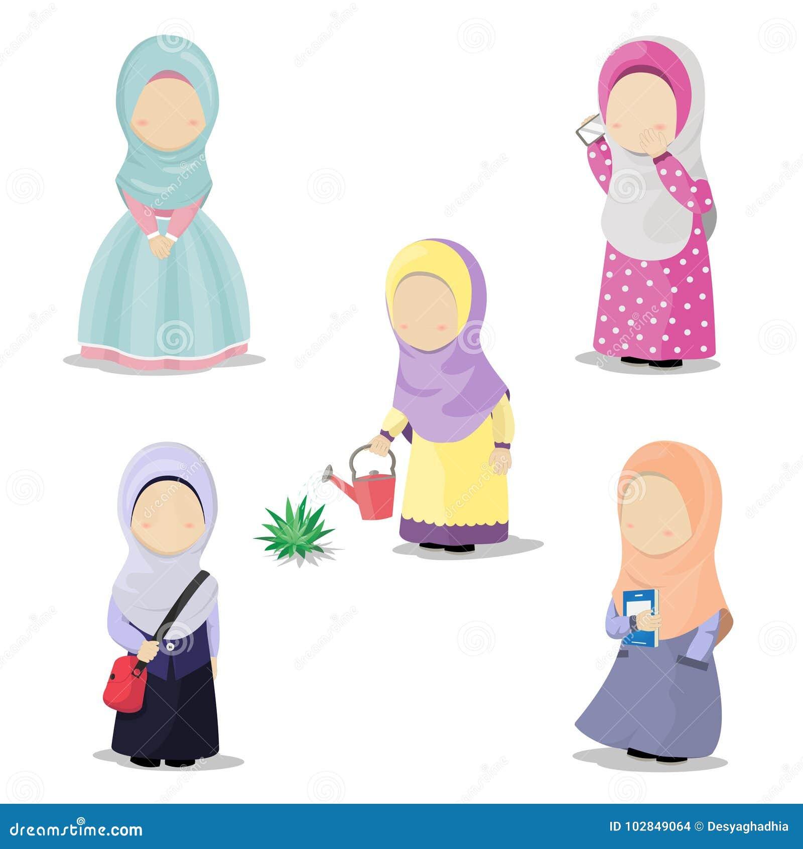 Satz Hijab-Mädchenzeichentrickfilm-figur, die tägliche Tätigkeiten tut, vector Illustration
