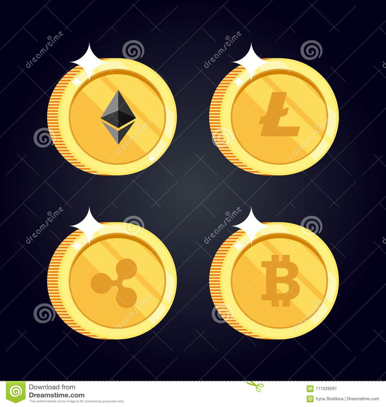 Satz Ikonen Litecoin, Kräuselung, Ethereum, bitcoin prägt