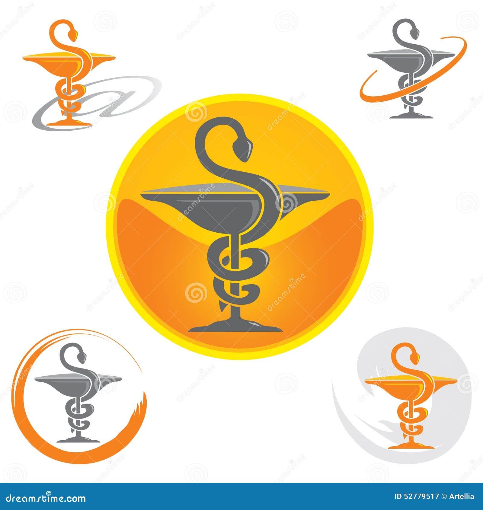 Satz Ikonen mit Caduceus-Symbol-Gelb - Gesundheit/Apotheke