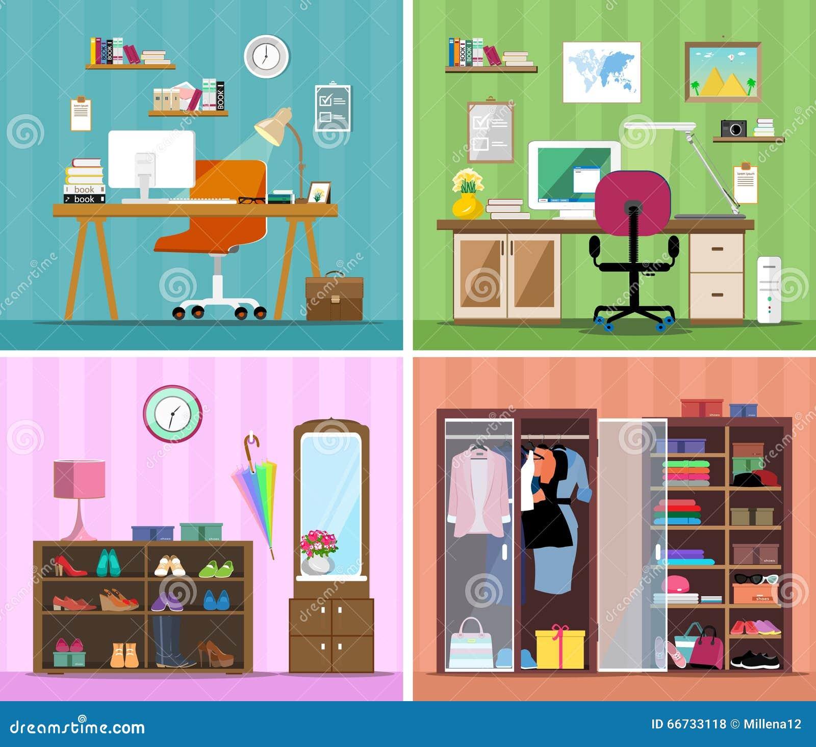 Satz Innenmodehausräume des bunten Vektors mit Möbelikonen: Arbeitsplatz mit Computer, modernes Innenministerium, Garderobe