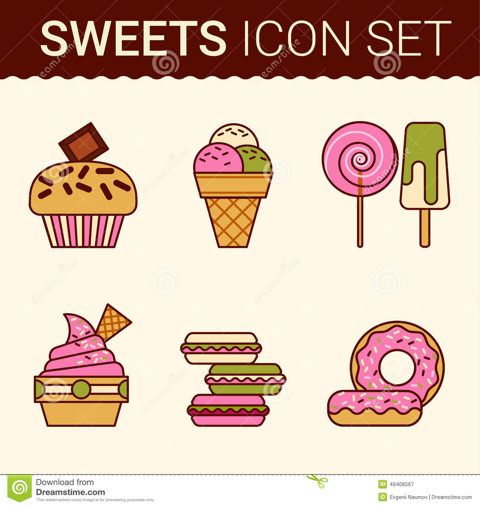 Download Satz köstliche Kuchen vektor abbildung. Illustration von nachtisch - 49406567
