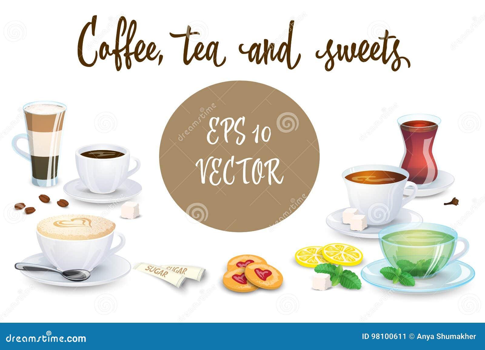 Satz Kaffeegetränke, Bonbons Und Bäckereiprodukte Einige ...