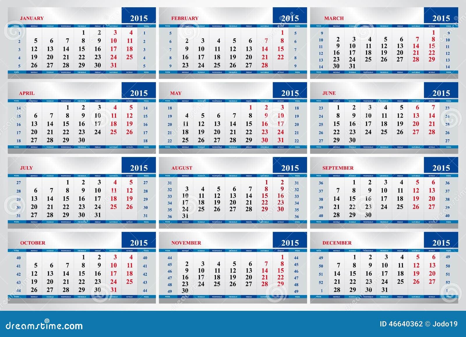 satz kalender f r jeden monat im jahre 2015 vektor abbildung bild 46640362. Black Bedroom Furniture Sets. Home Design Ideas