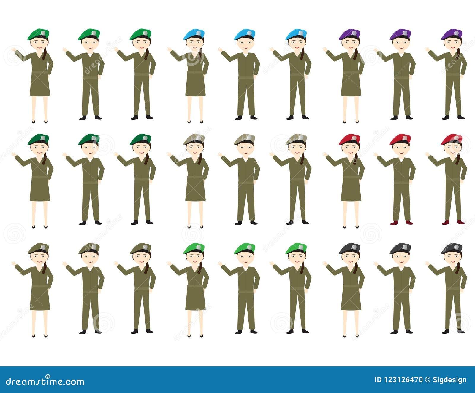 Satz Karikatursoldatfrauen und -männer mit Hüten in den verschiedenen Farben