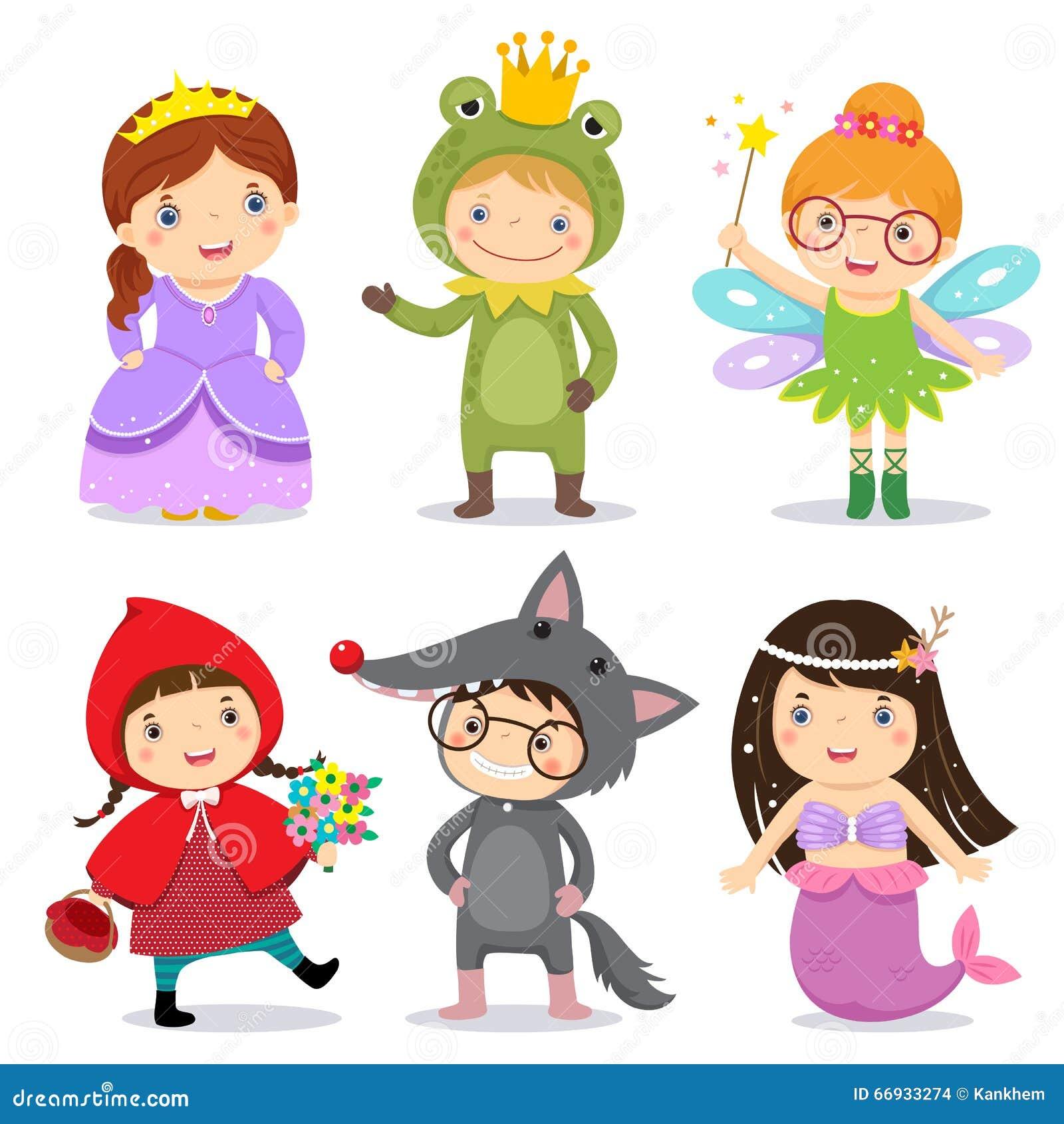 Satz Kinder, die im Märchenthema tragen