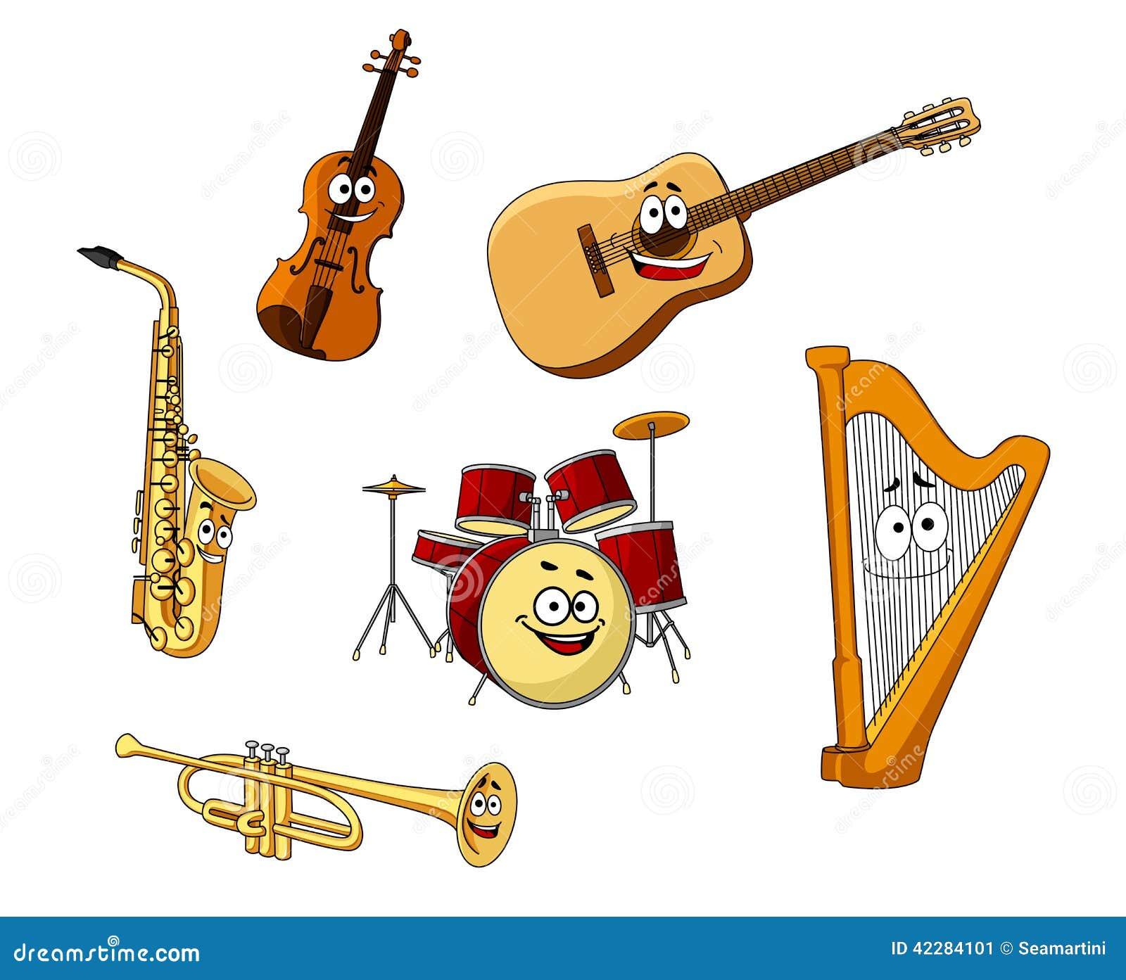 Satz Klassische Musikinstrumente Vektor Abbildung ...