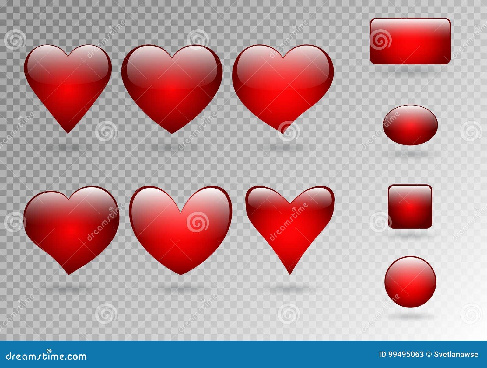 Satz Knöpfe von Herzen
