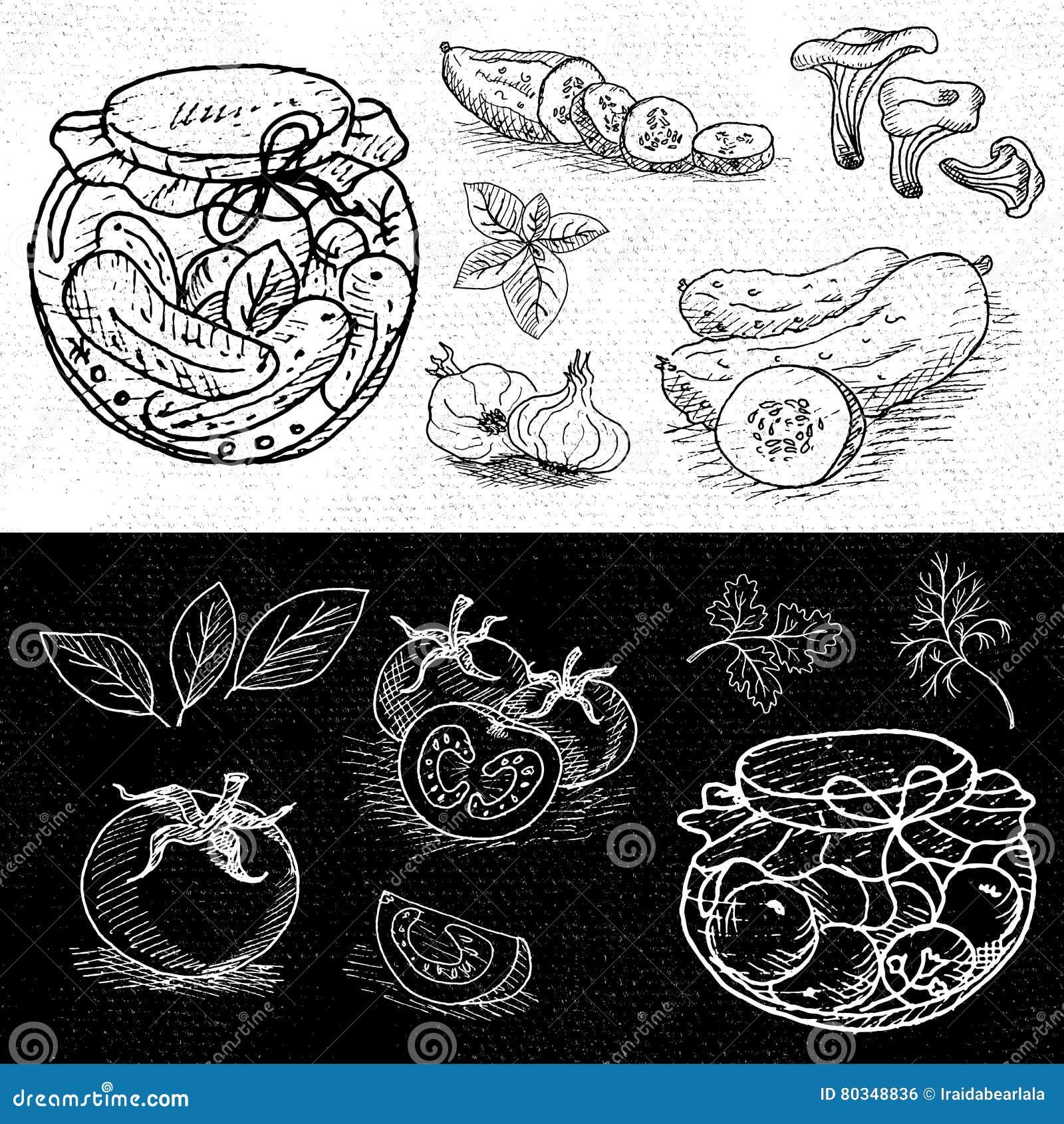 Satz Kreide gezeichnet auf ein Tafellebensmittel, Gewürze