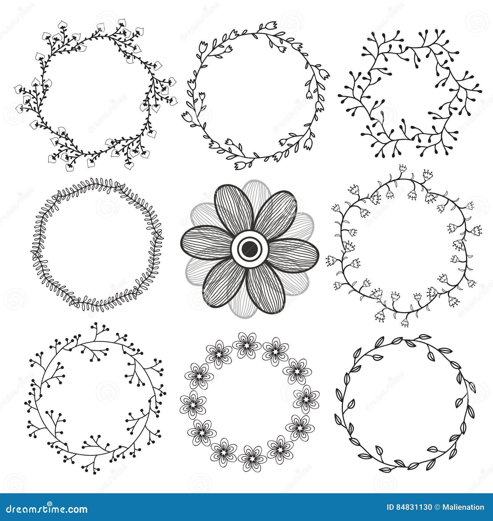 Satz Kreis-Rahmen Nette Natürliche Runde Rahmen Für Grußkarte ...