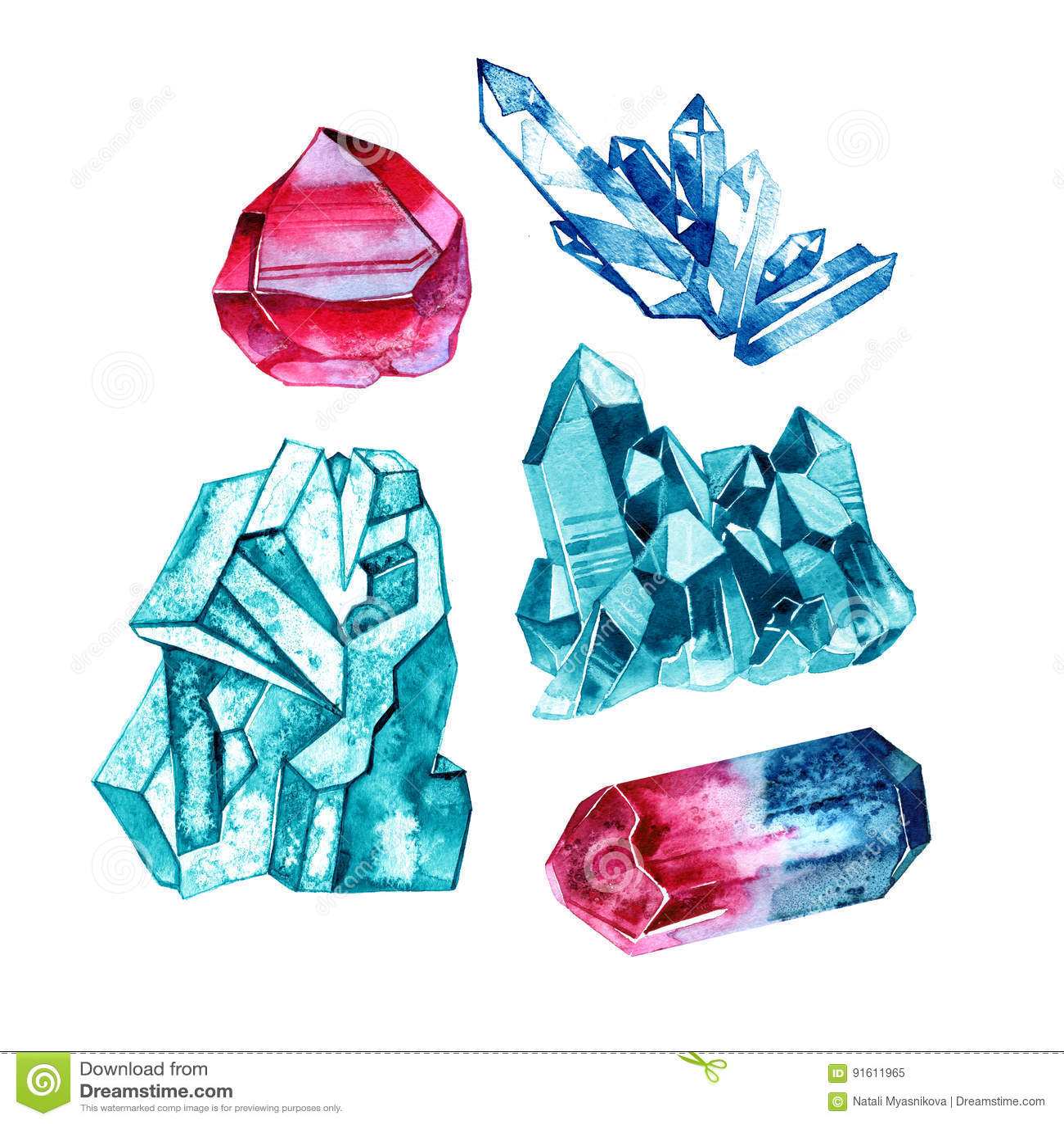Satz Kristalledelsteine in der Aquarellart Abbildung auf Weiß