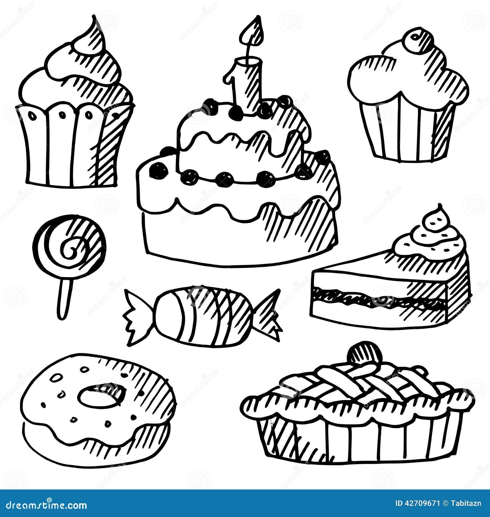 Satz Kuchen, Kleine Kuchen, Bonbons, Gekritzelskizzen ...