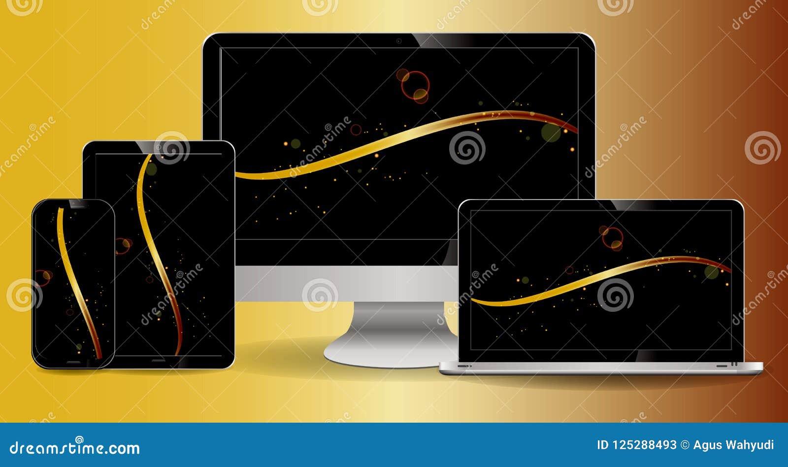 Satz Laptop, Tablette, Computer lcd, Smartphone mit lcd-Anzeige mit klarer Anzeige und modernes Design-lokalisiertes Grau