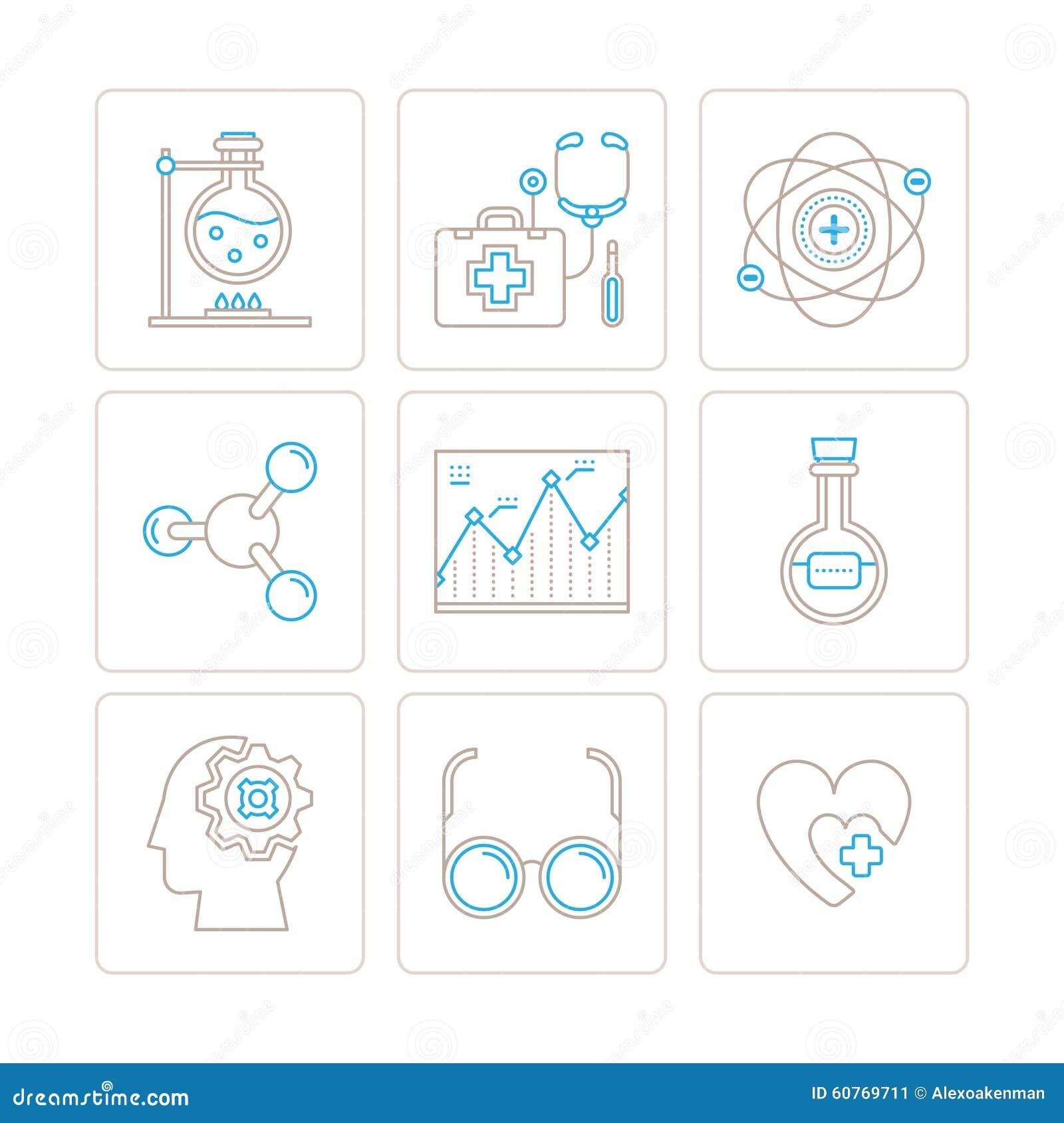 Satz medizinische Ikonen und Konzepte des Vektors in der dünnen monolinie Art