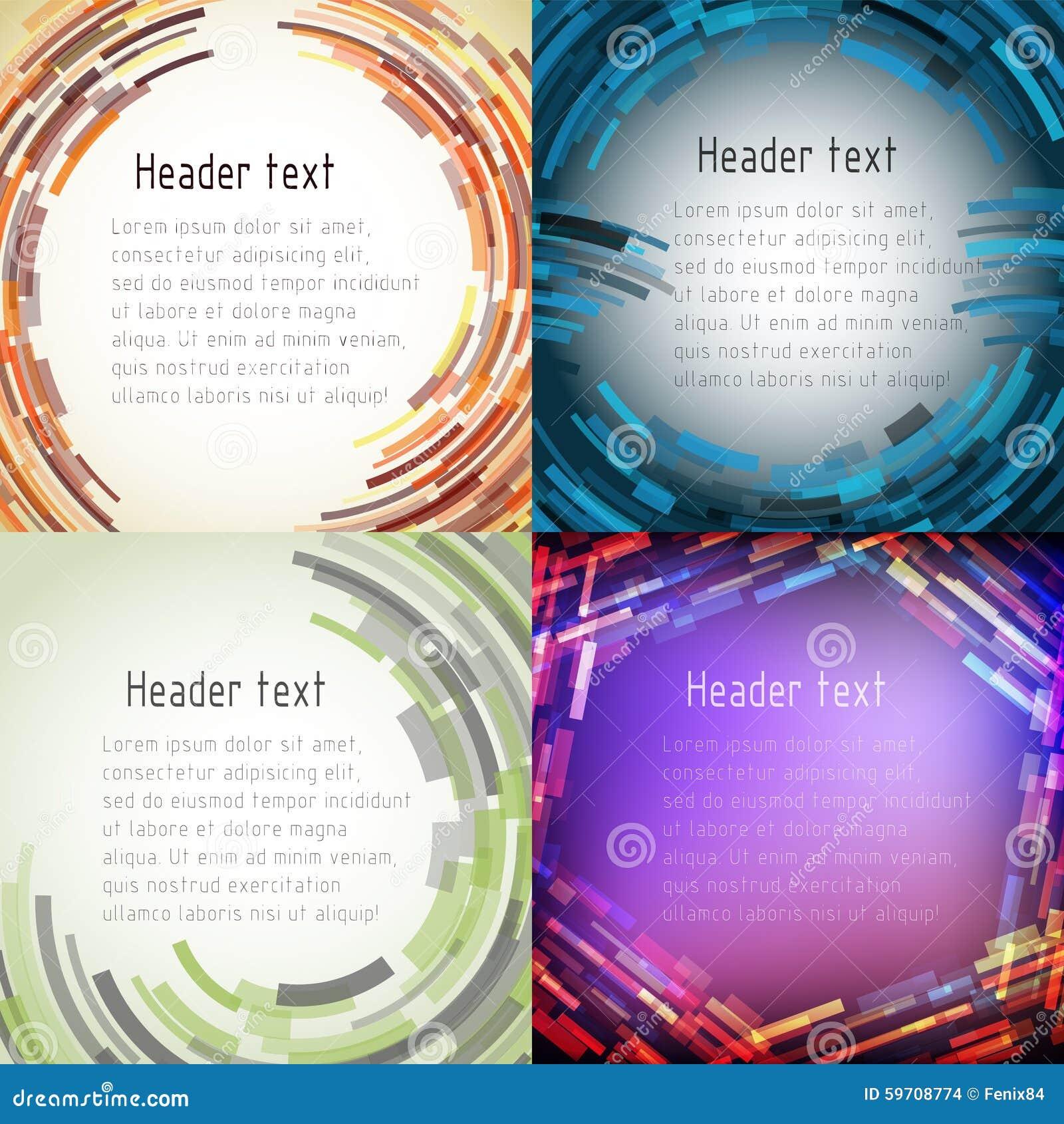 Satz Mehrfarbige Abstrakte Rahmen Für Text Vektor Abbildung ...