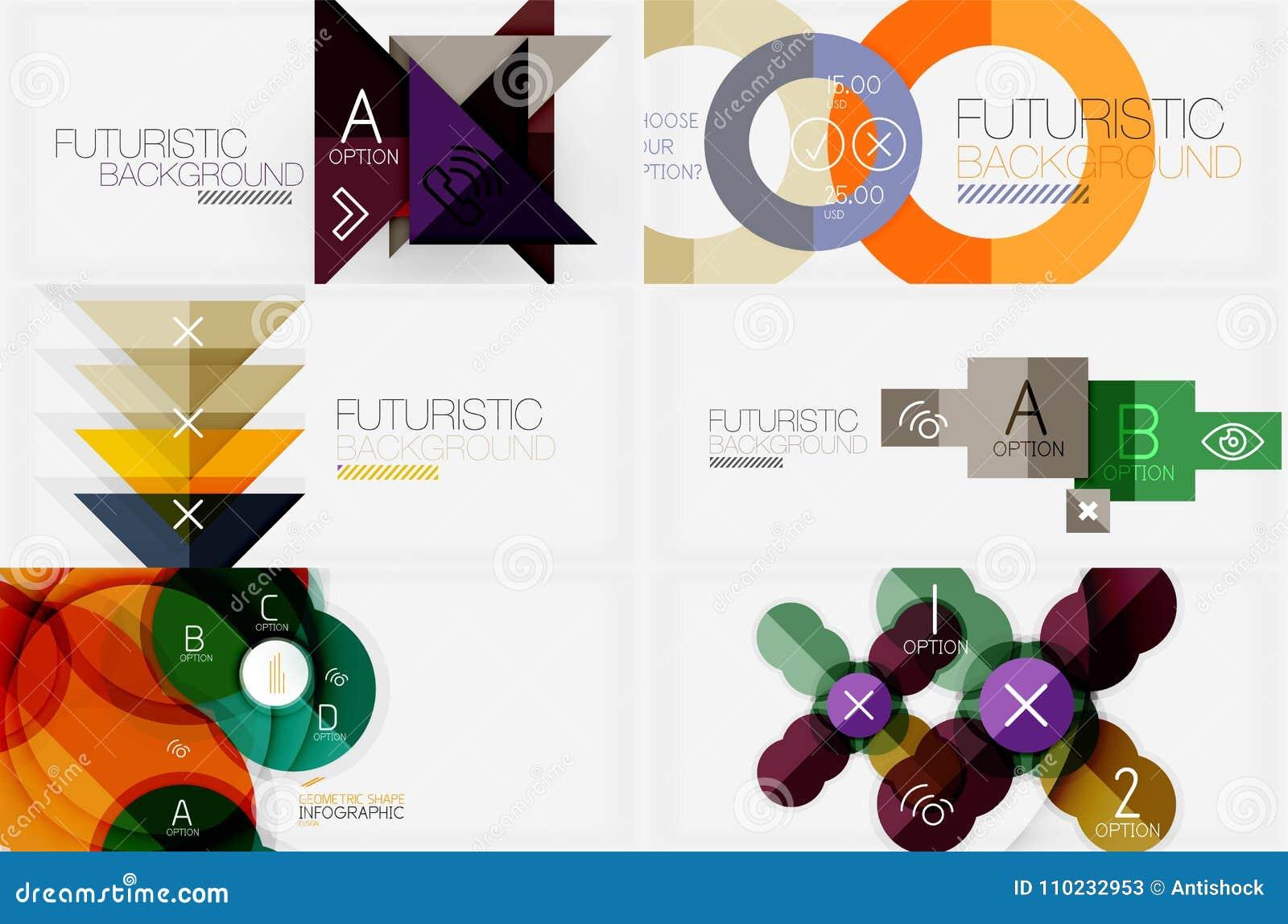Satz minimalistic geometrische Fahnen mit Dreiecken und Kreise und andere Formen Webdesign- oder Geschäftsslogan