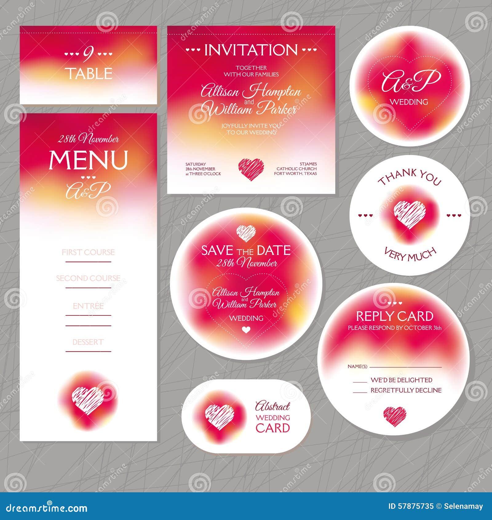 Satz Moderne Hochzeitskarten Vektor Abbildung Illustration Von