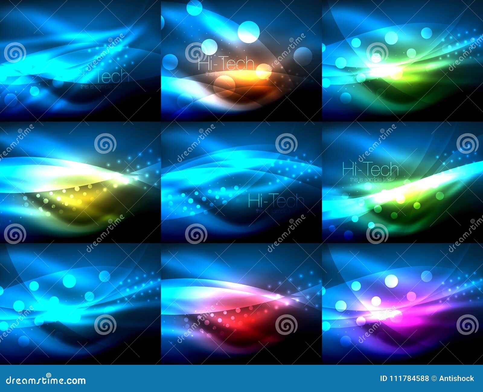 Satz Neonwellenhintergründe mit Lichteffekten, curvy Linien mit den funkelnden und glänzenden Punkten, glühende Farben in der Dun
