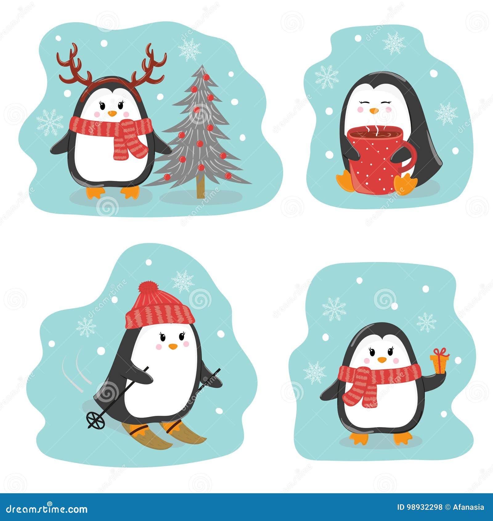 Satz Nette Pinguine Grüße Der Frohen Weihnachten Und Des Guten ...
