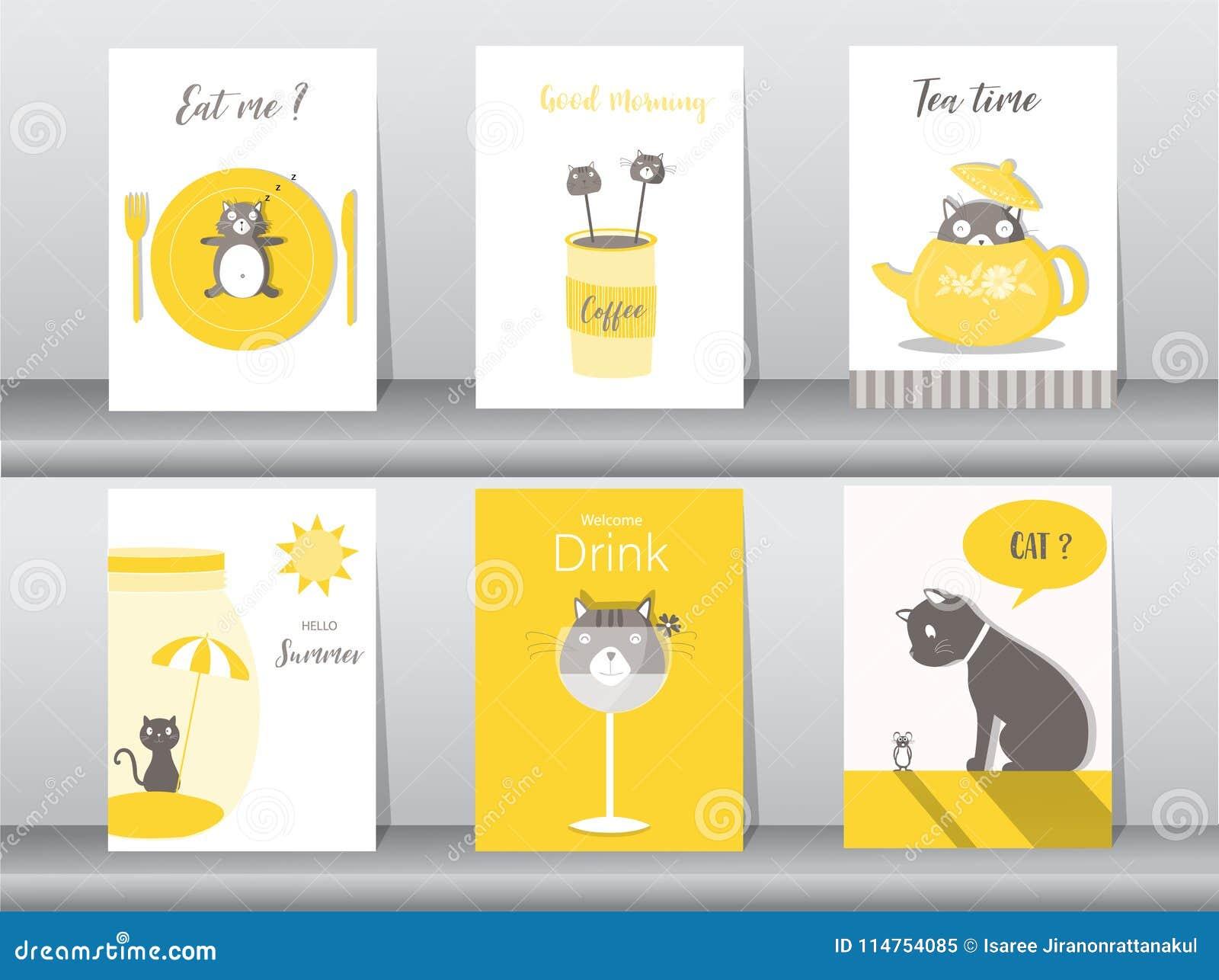 satz nette tiere plakat, schablone, karten, katzen, lebensmittel