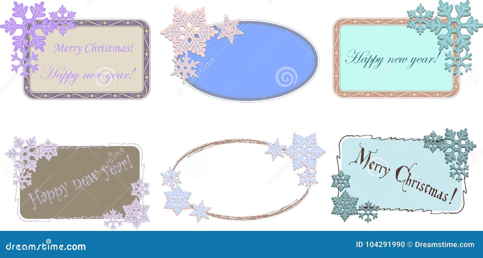 Satz ovale und rechteckige Rahmen mit Schneeflocken für Weihnachts- oder des neuen Jahresdesign