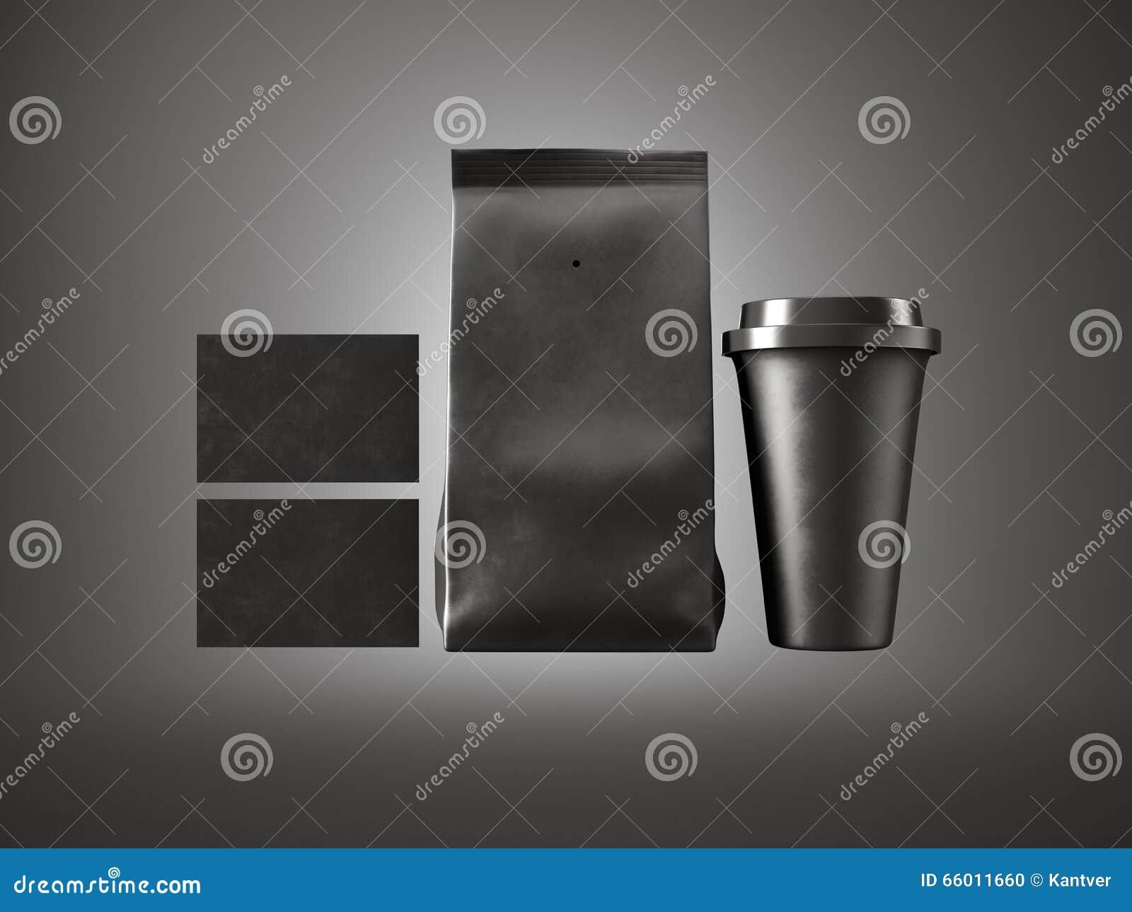 Satz Papierpaket Kaffeetasse Und Zwei Leere Visitenkarten