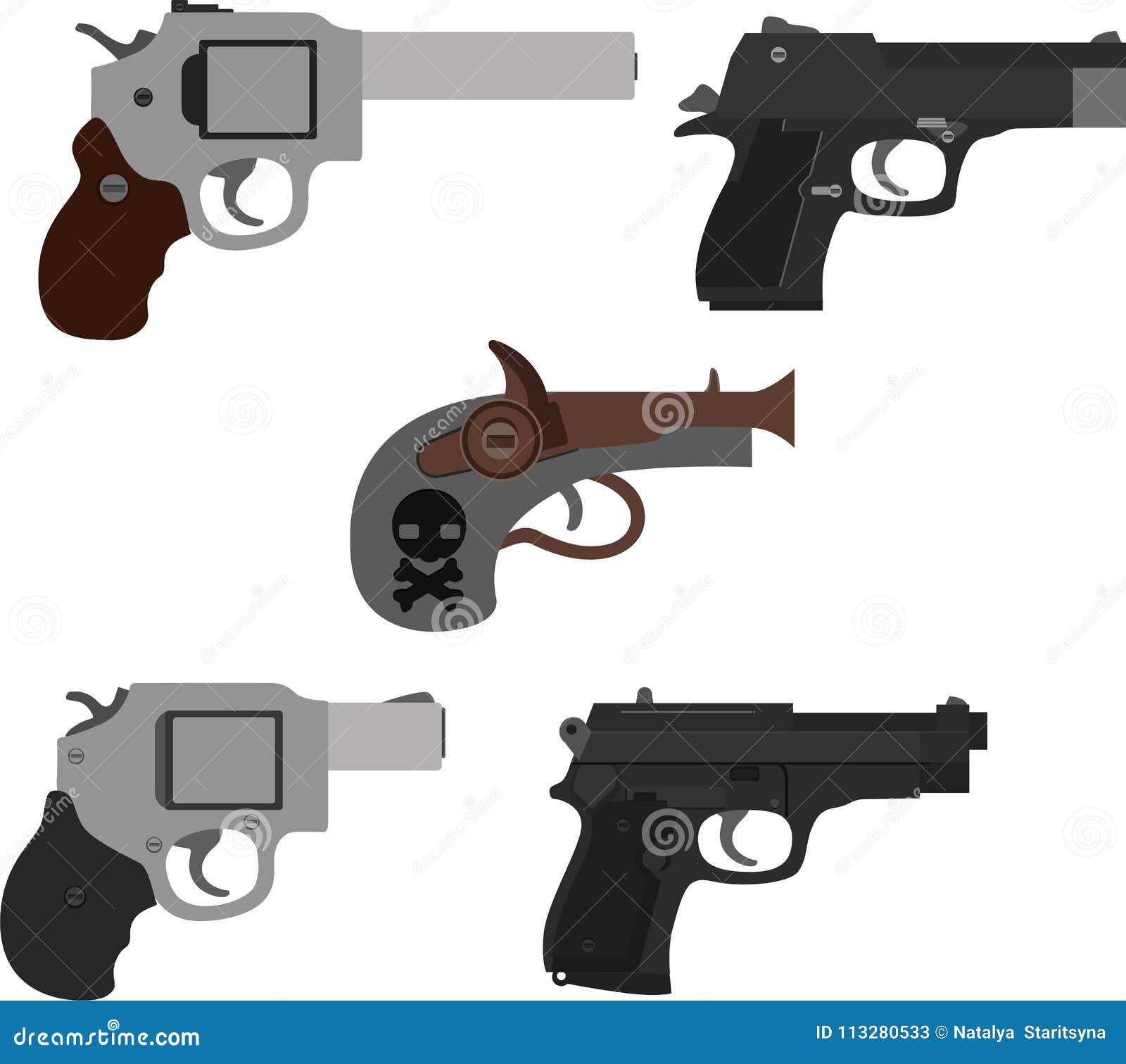 Satz Pistolenikonen Lokalisierte Illustration von Waffen