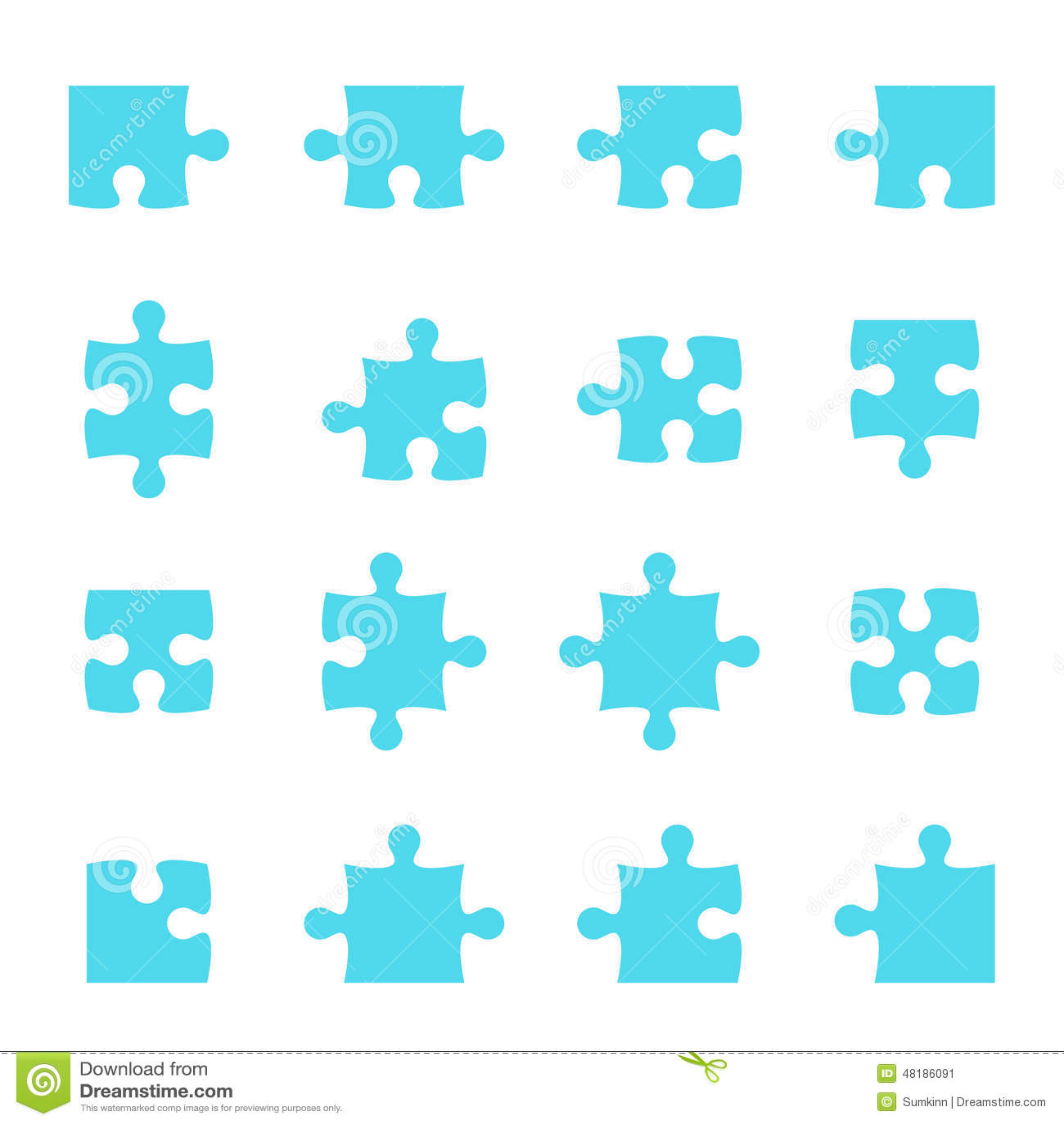 Satz Puzzlespiel-Stücke