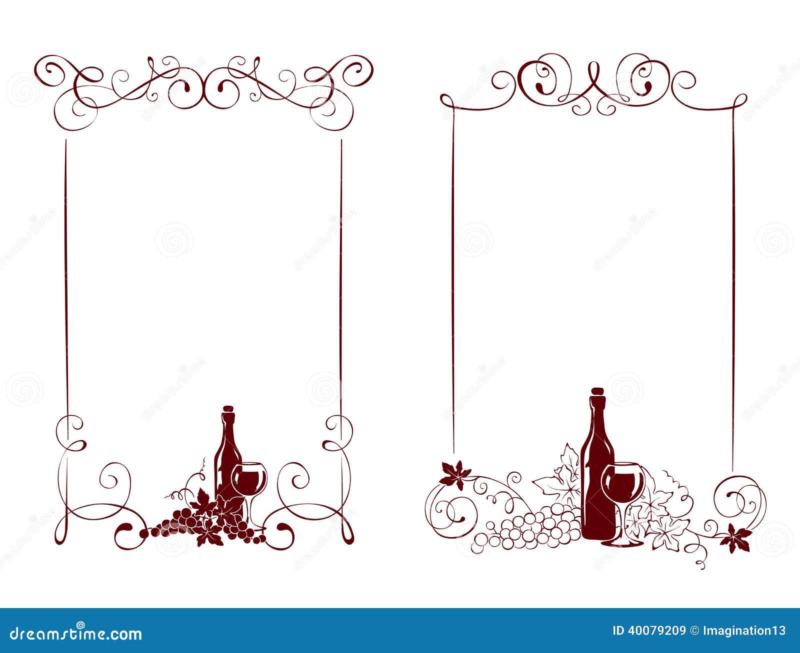 Satz Rahmen -- Rebe Und Eine Weinflasche Vektor Abbildung ...