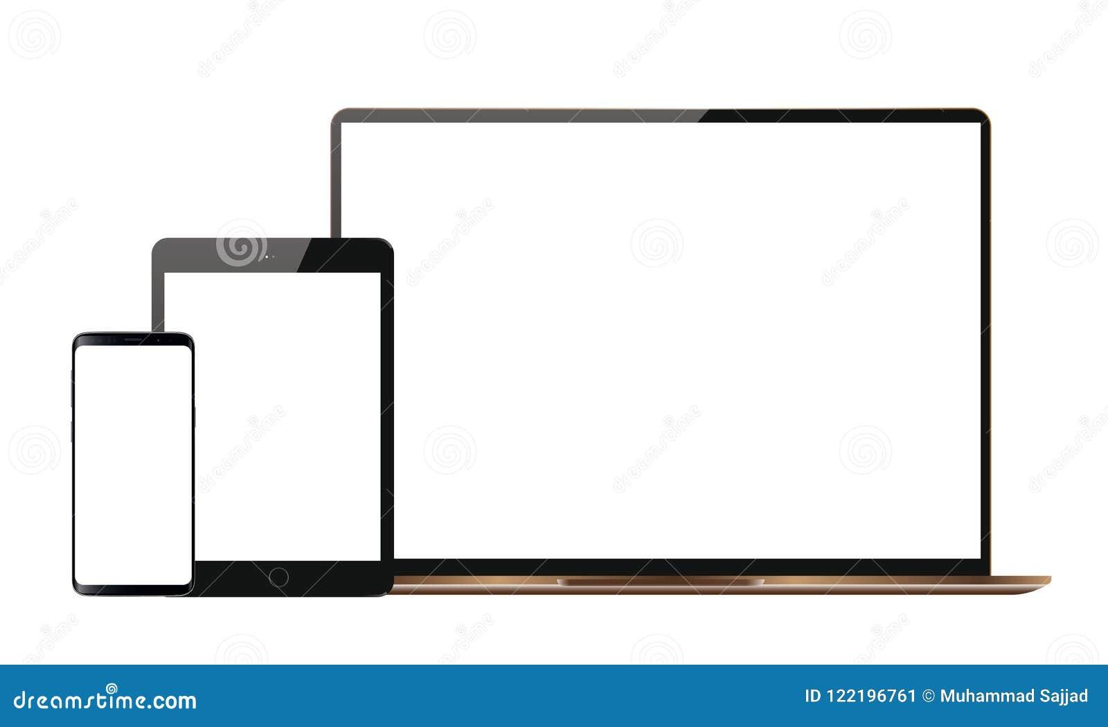 Satz realistische Fernsehmonitor-Anzeige Vektor-Android-Handy Ipad-Tablet-Android-Lcd