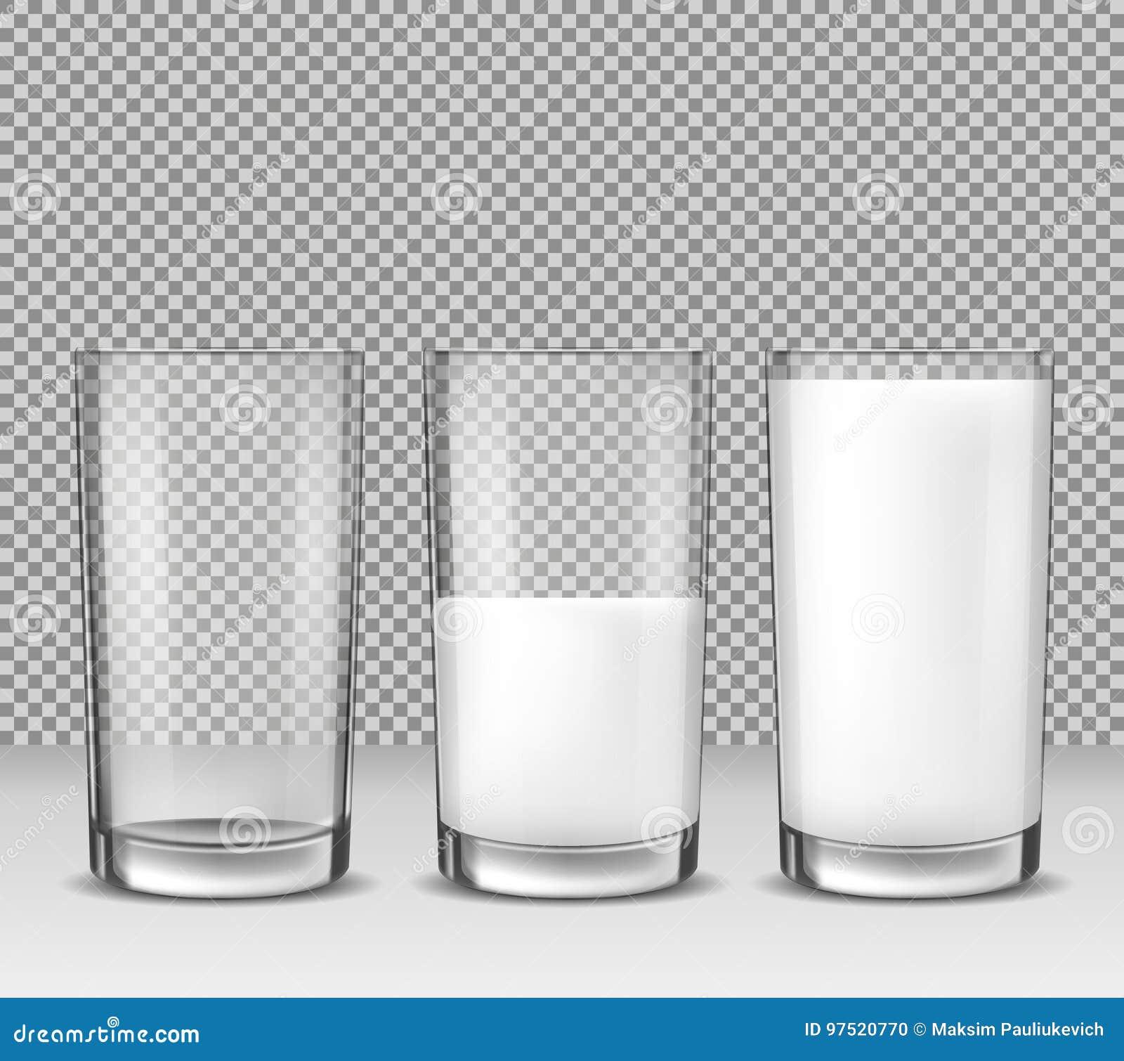 Satz realistische Illustrationen des Vektors, Ikonen, Glasgläser leeren sich, halb voll und voll von der Milch, Milchprodukt