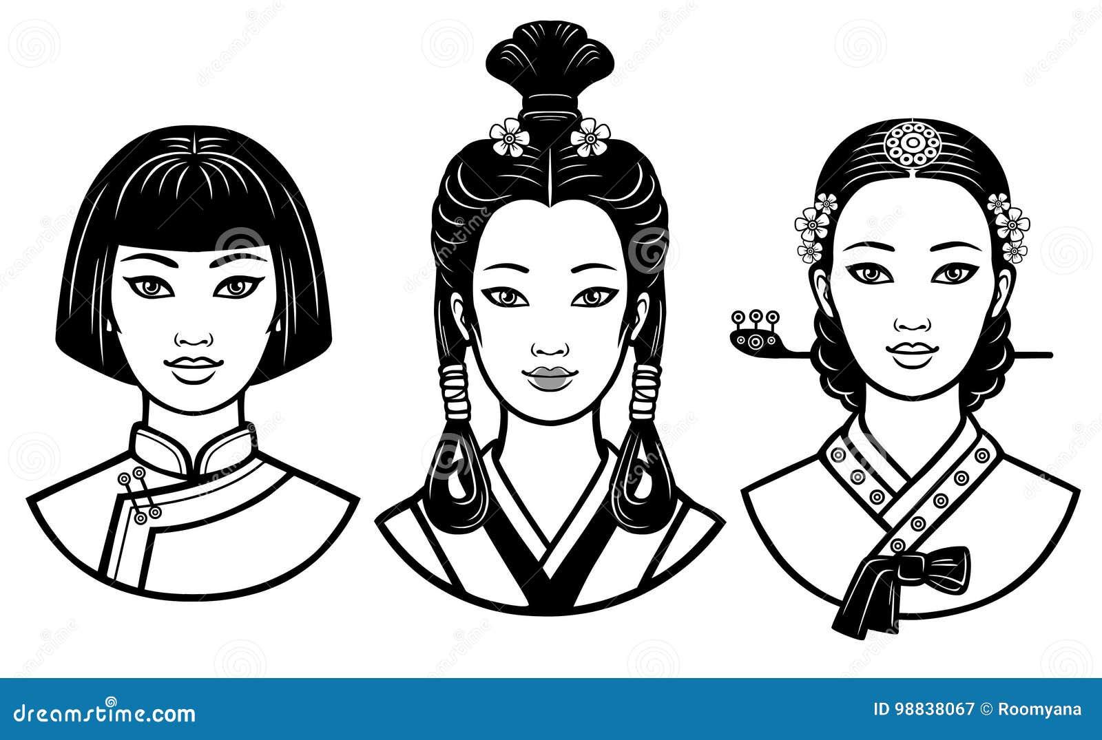 Satz Realistische Portrats Der Jungen Asiatischen Madchen Mit