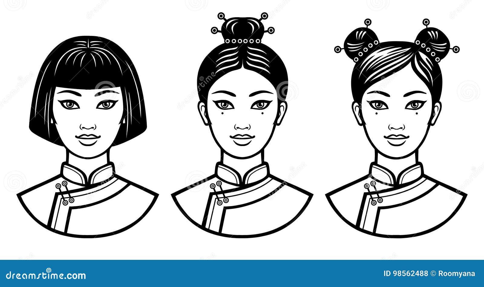 Satz Realistische Porträts Der Jungen Chinesischen Mädchen Mit