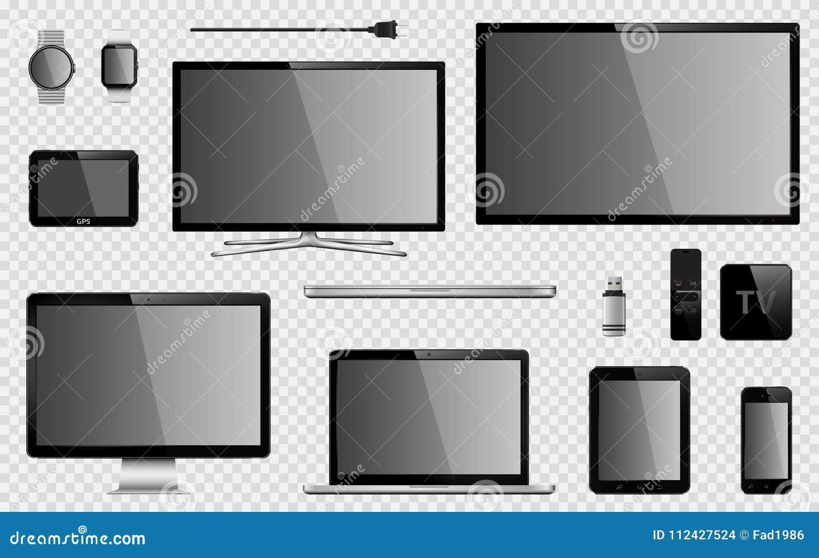 Satz realistischen Fernsehens, Computermonitor, Laptop, Tablette, Handy, intelligente Uhr, usb-Blitz-Antrieb, GPS-Navigationsanla