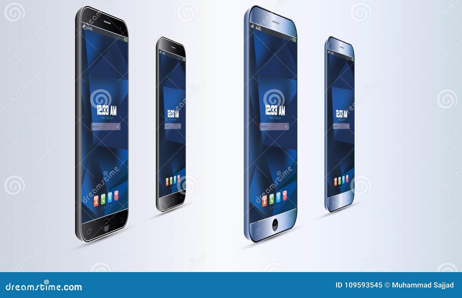 Satz realistischer Vektor-Android-Handy-Touch Screen Illustration