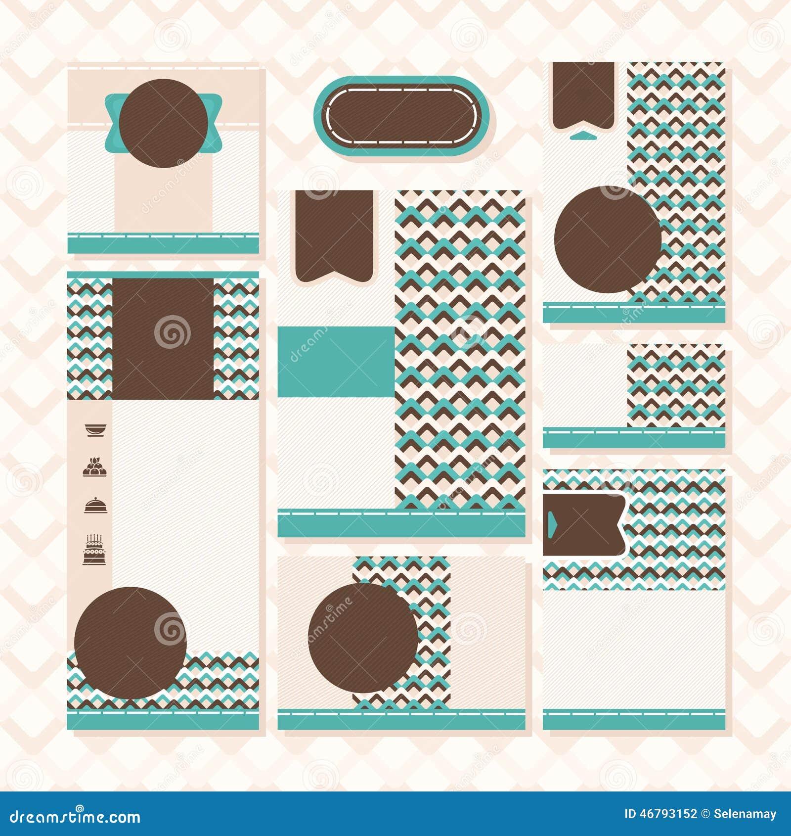 Satz Retro Hochzeitskarten Vektor Abbildung Illustration Von