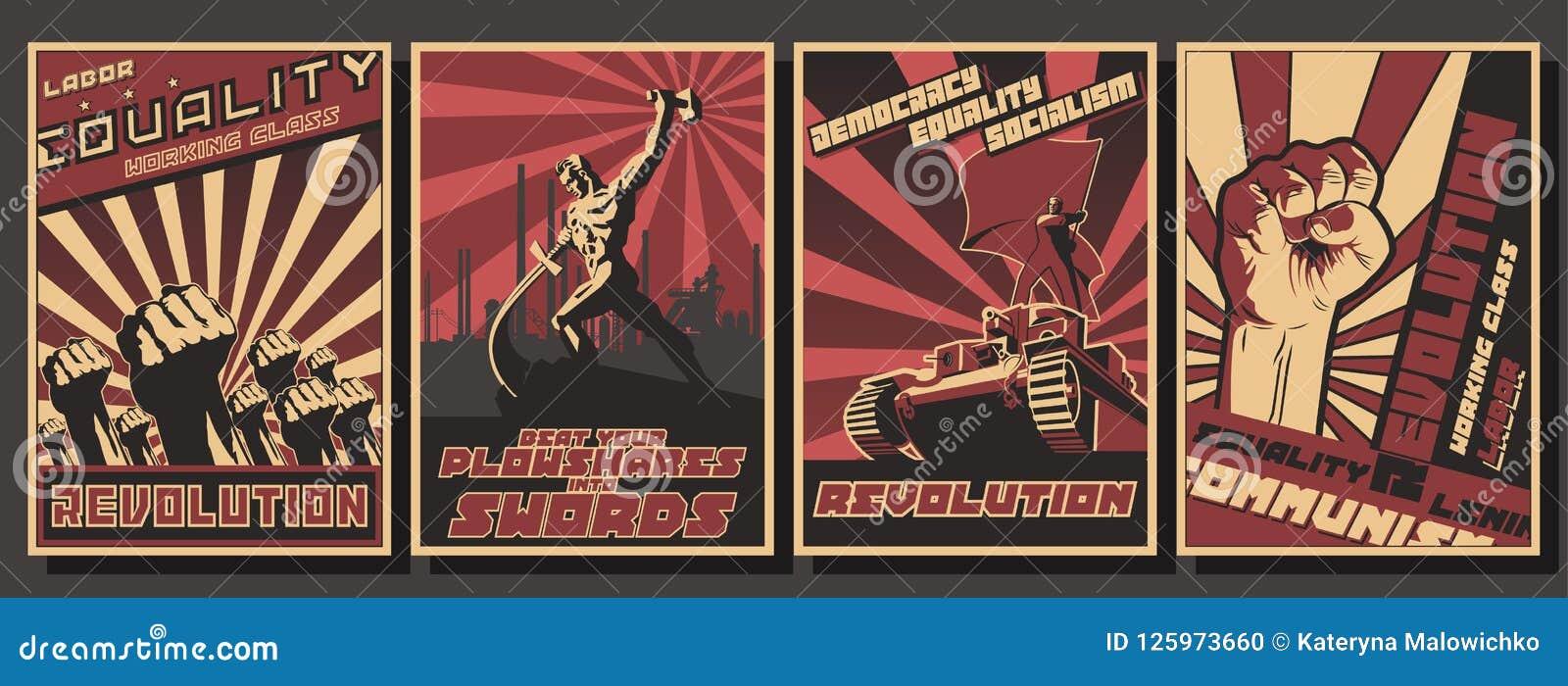 Satz Retro- Kommunismus-Propaganda-Poster