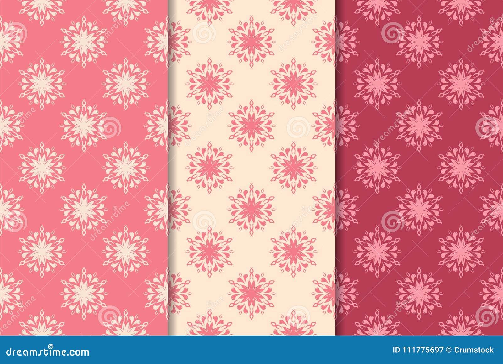 Satz rote Blumenverzierungen Kirschrosa vertikale nahtlose Muster