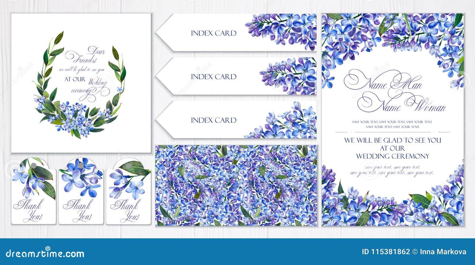 Satz Schablonen für Grüße oder Einladungen zur Hochzeit Blaue Blumen, Flieder und Zweige mit Blättern