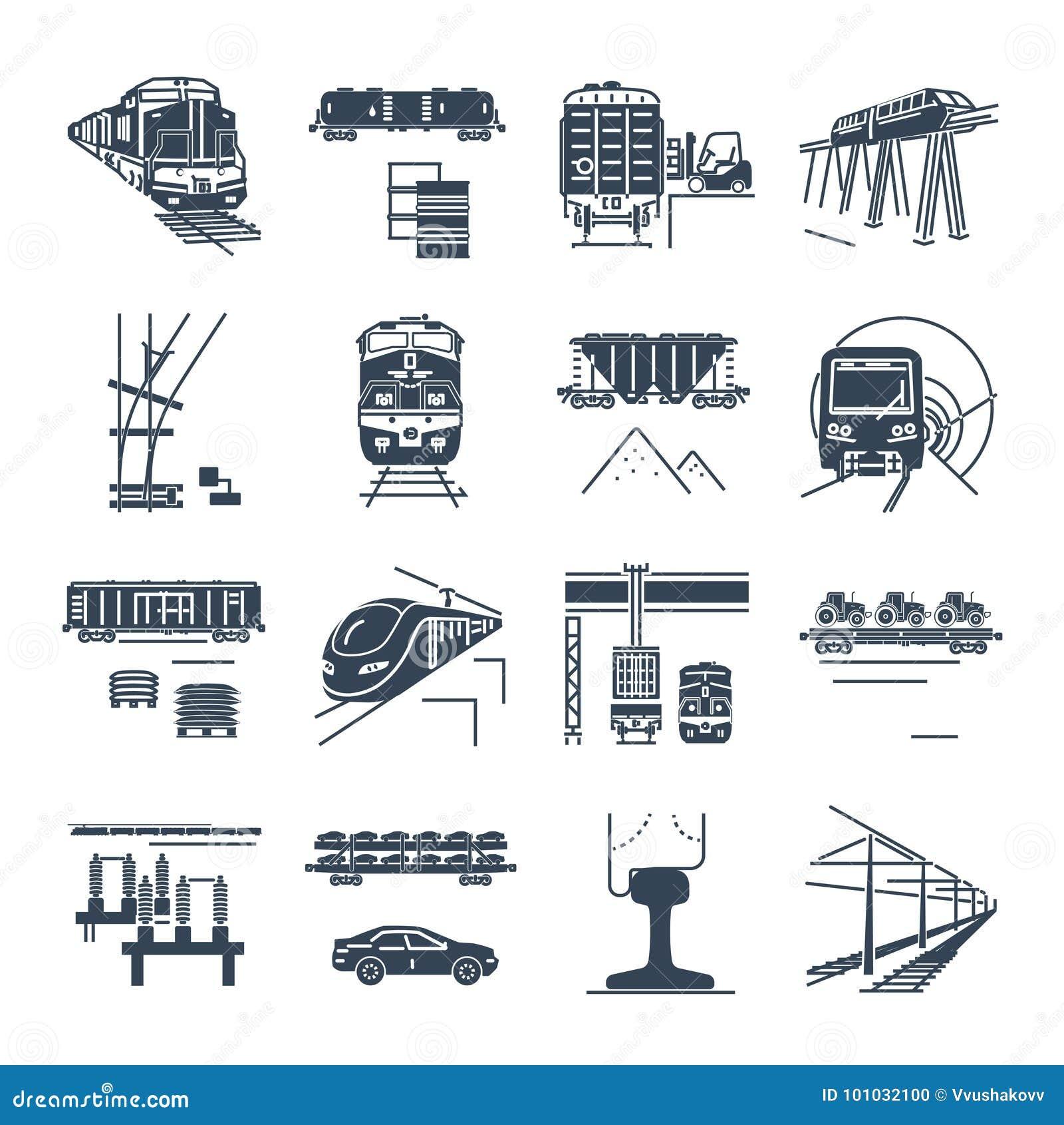 Satz schwarze Ikonen Fracht und Schienenpersonenverkehrbahntransport, Zug