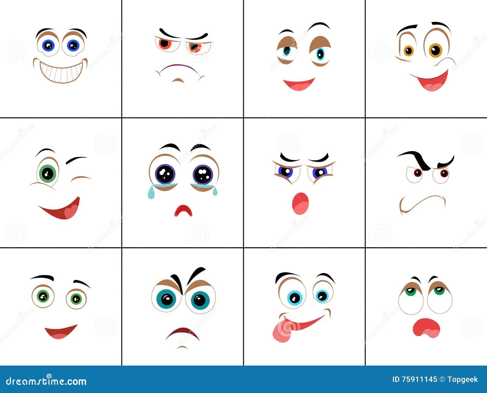 Satz Smiley Mit Ausdruck Von Gefühlen Vektor Abbildung ...