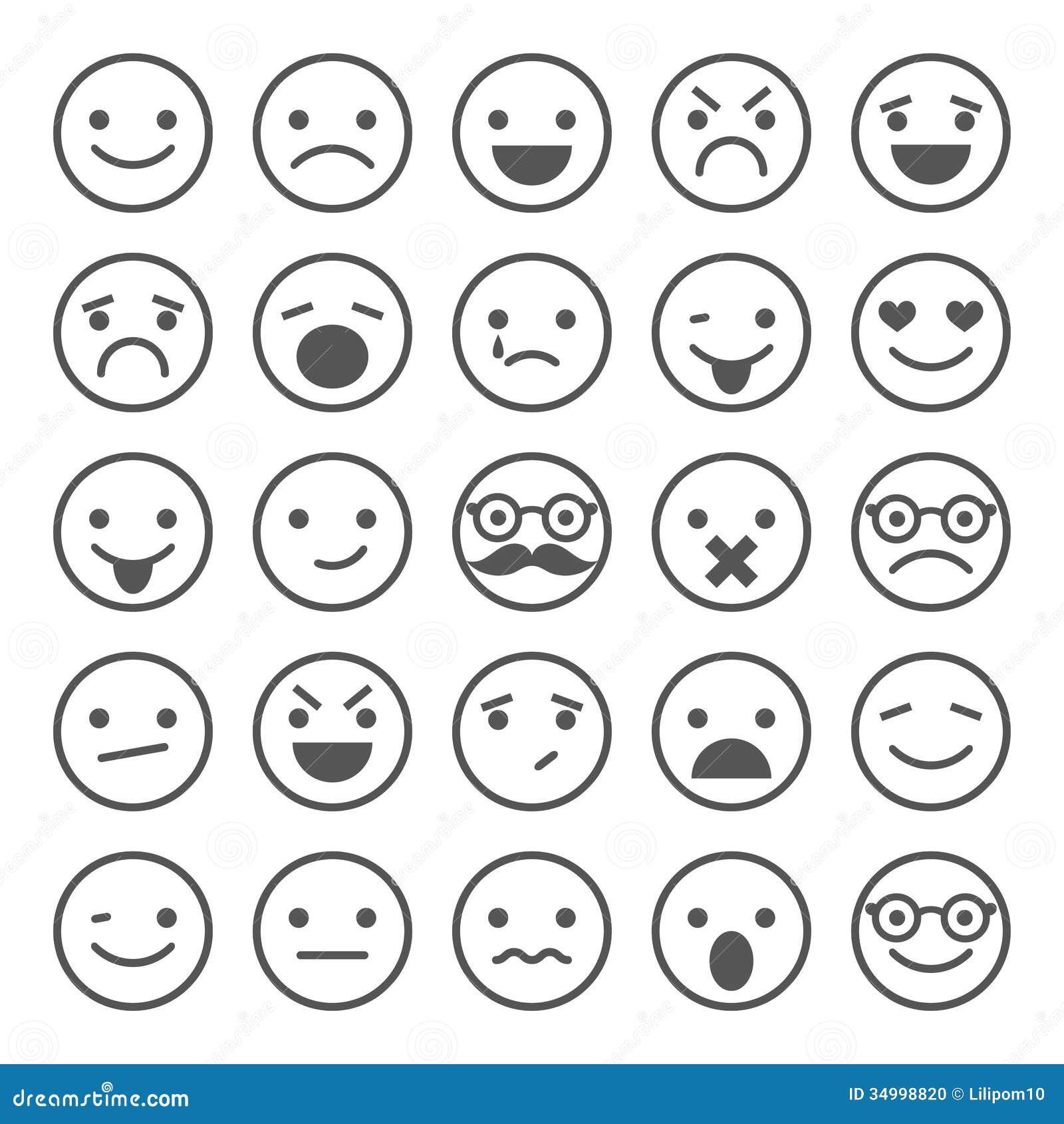 Satz smileyikonen verschiedene gefühle stellen sie für design ein