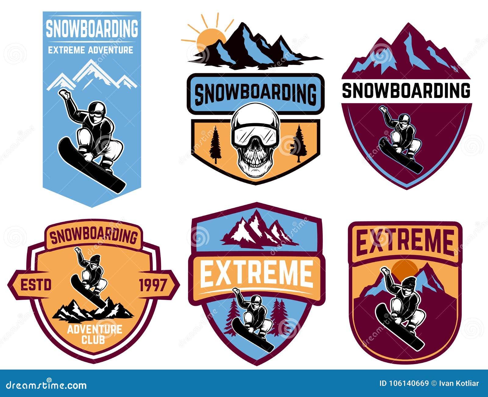 Satz Snowboardingembleme Gestaltungselement für Logo, Aufkleber, Emblem, Zeichen
