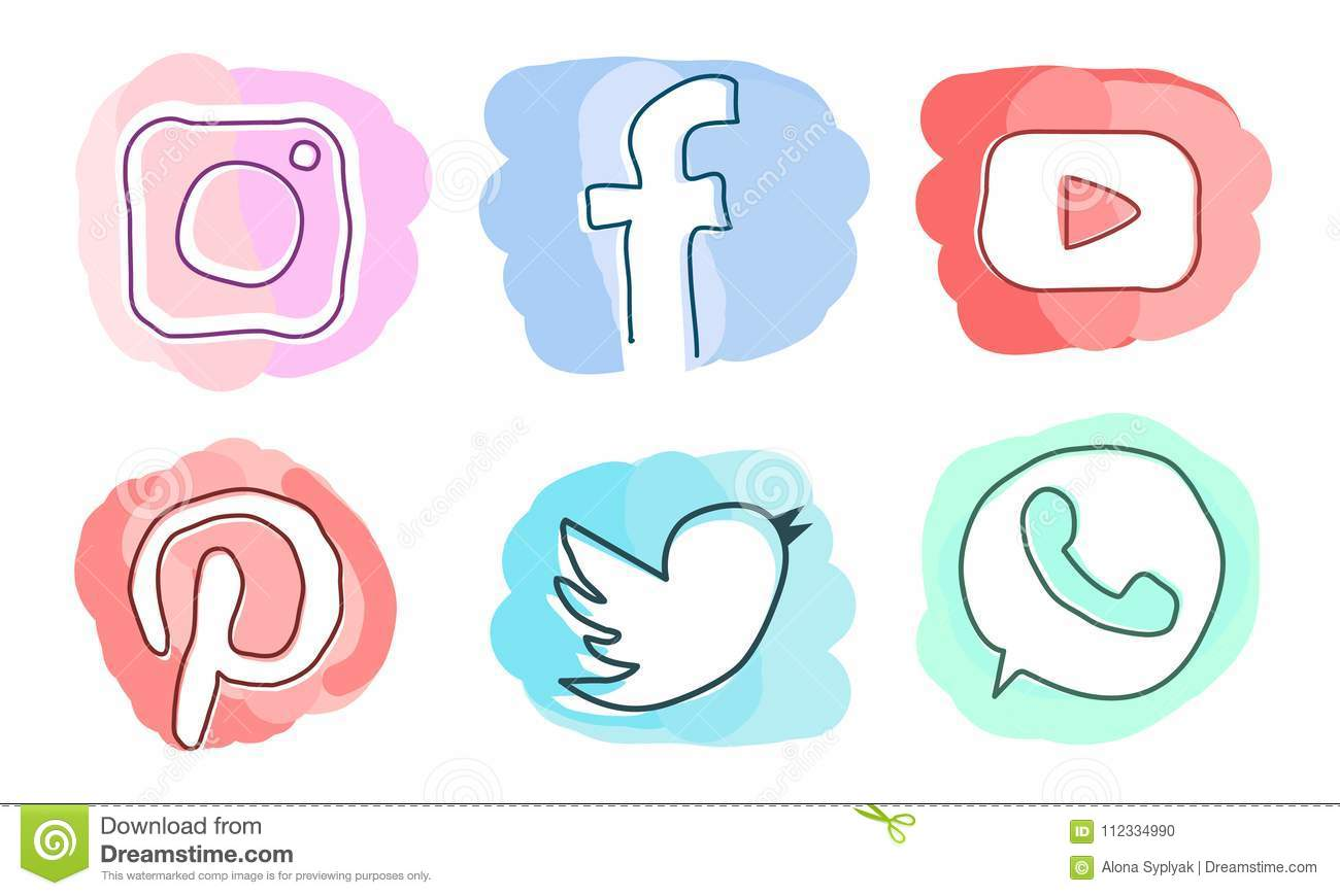 Satz Social Media-Ikonen: Instagram, Facebook, Pinterest, YouTube, Twitter, WhatsApp