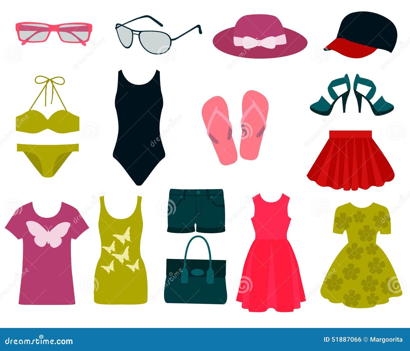 Fashion contest 2017 - Satz Sommerkleidung Vektor Abbildung Bild 51887066