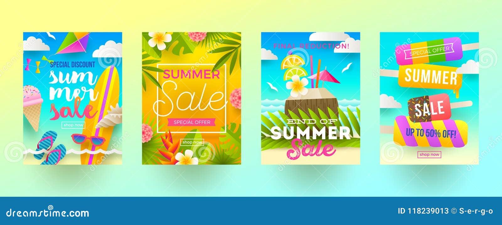 Satz Sommerschlussverkaufförderungsfahnen Ferien, Feiertage und bunter heller Hintergrund der Reise Plakat- oder Newsletterdesign