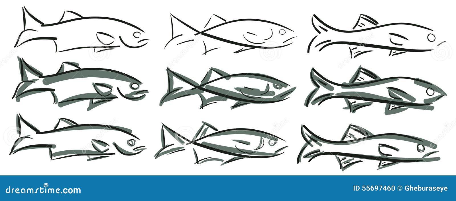 Satz stilisierte Fische