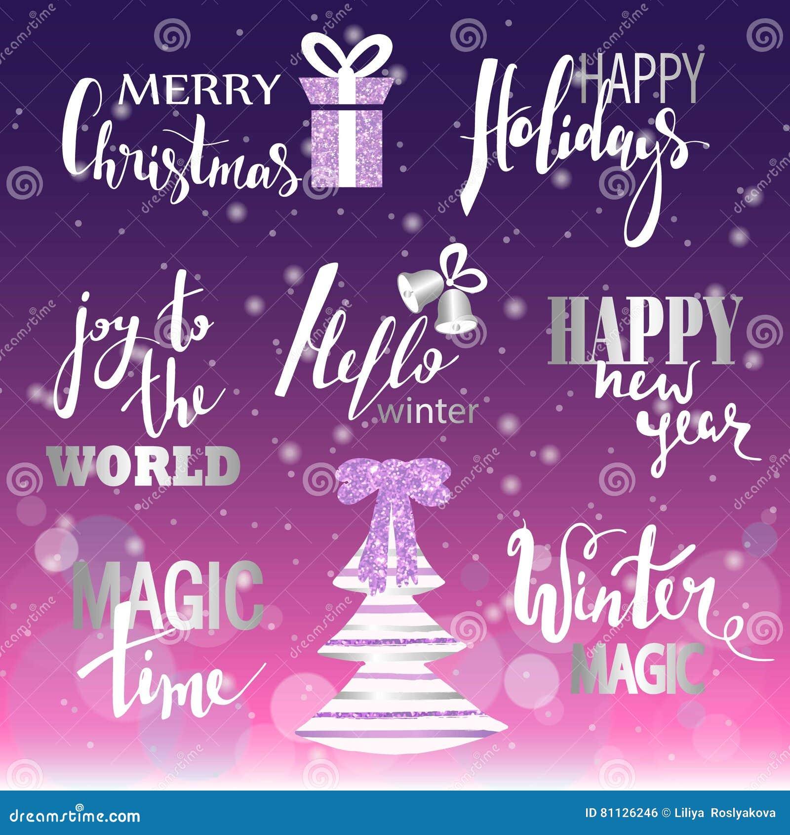 Satz Text Der Frohen Weihnachten, Hand Gezeichnete Beschriftung Und ...